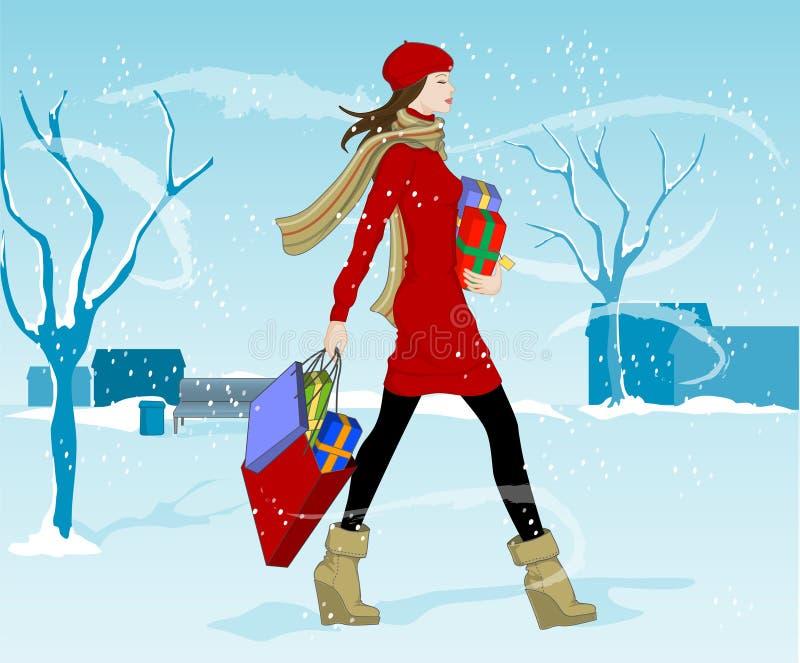 圣诞节购物 向量例证