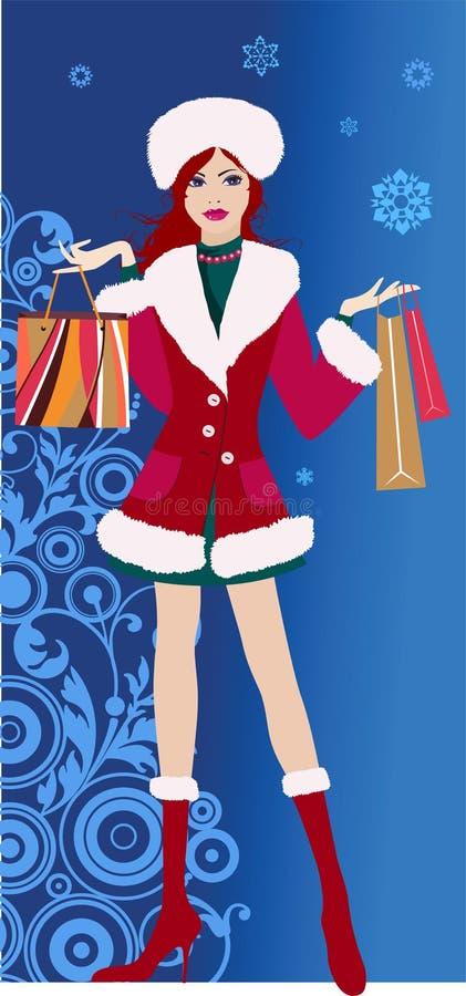 圣诞节购物 皇族释放例证
