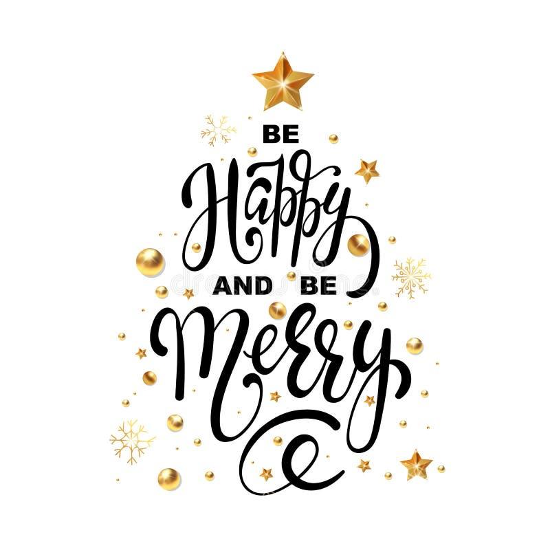 圣诞节贺卡是愉快的和是金黄新年装饰和金子闪烁圣诞树快活的设计模板  向量例证