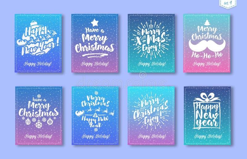 圣诞节贺卡设置了与白色象征包括的标志新年快乐,圣诞快乐 皇族释放例证