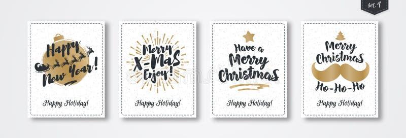 圣诞节贺卡设置了与象征在白色雪假日背景的金子样式 皇族释放例证
