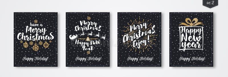圣诞节贺卡设置了与象征金子样式包括的标志新年快乐 向量例证
