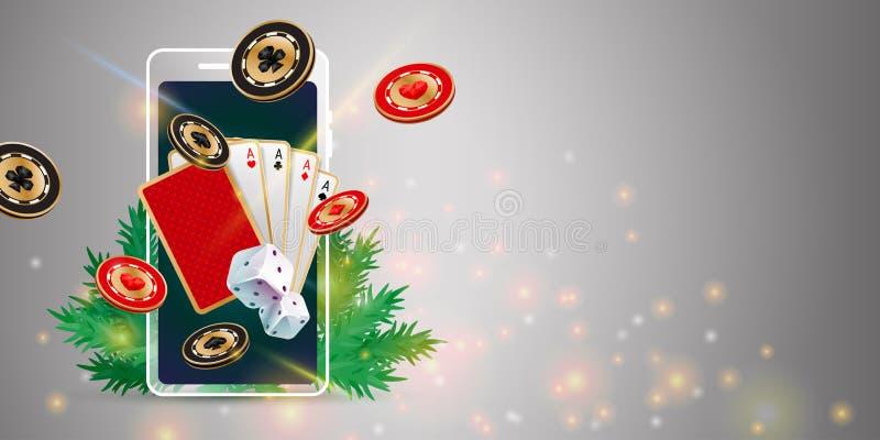 圣诞节赌博娱乐场横幅 向量例证