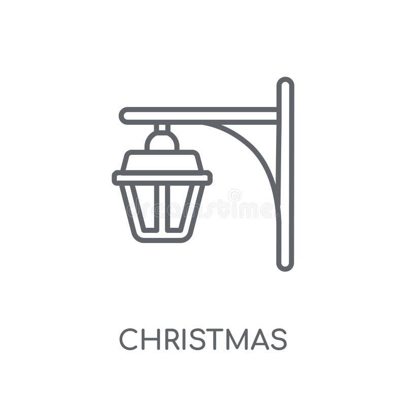 圣诞节路灯到底线性象 现代概述圣诞节Str 库存例证