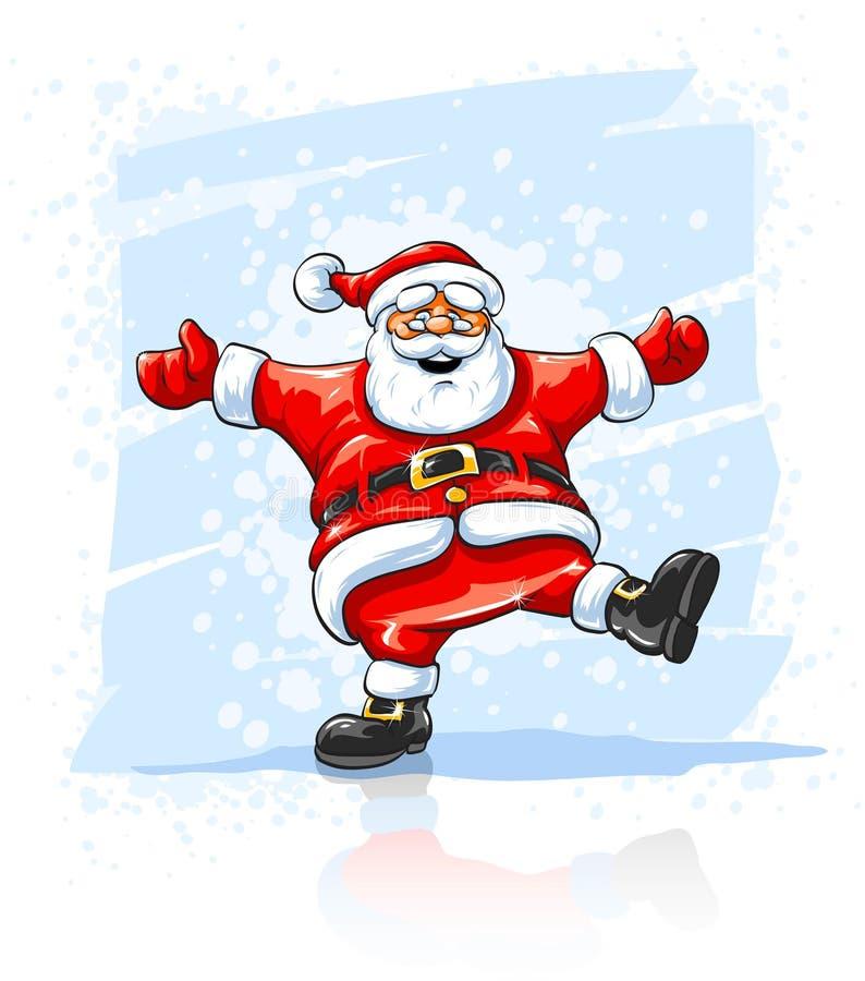 圣诞节跳舞快活的圣诞老人的克劳斯 库存例证
