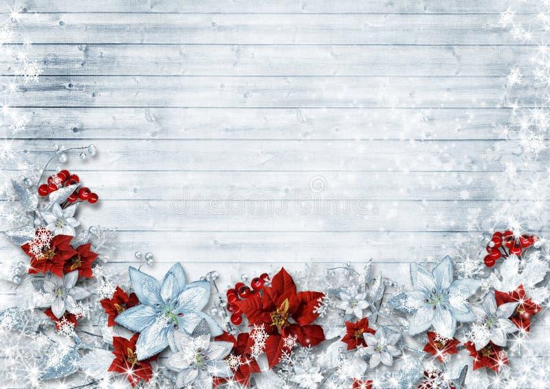 圣诞节边界与一品红和冬天在葡萄酒w开花 皇族释放例证