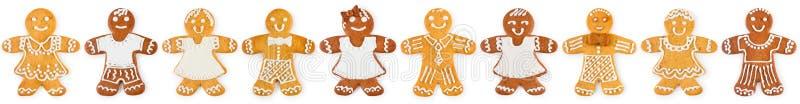 圣诞节边界和装饰品从姜饼男孩和女孩-甜曲奇饼 库存图片