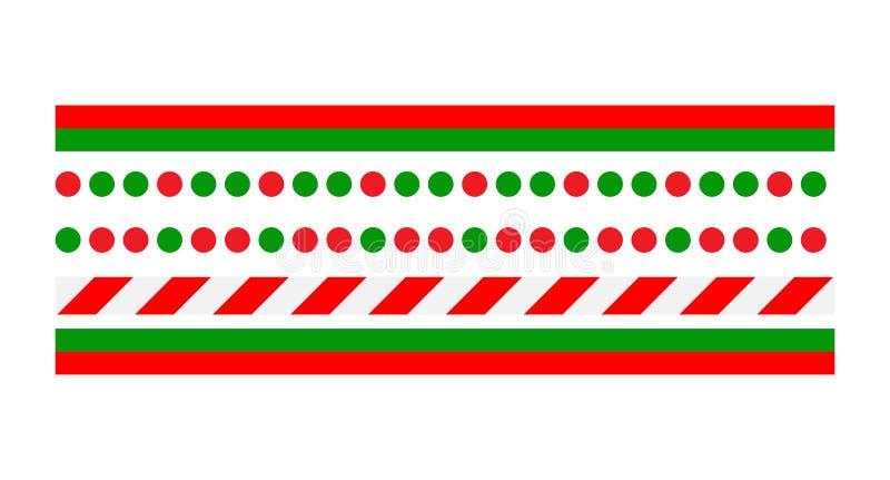 圣诞节边界线在白色背景隔绝的集合传染媒介 向量例证