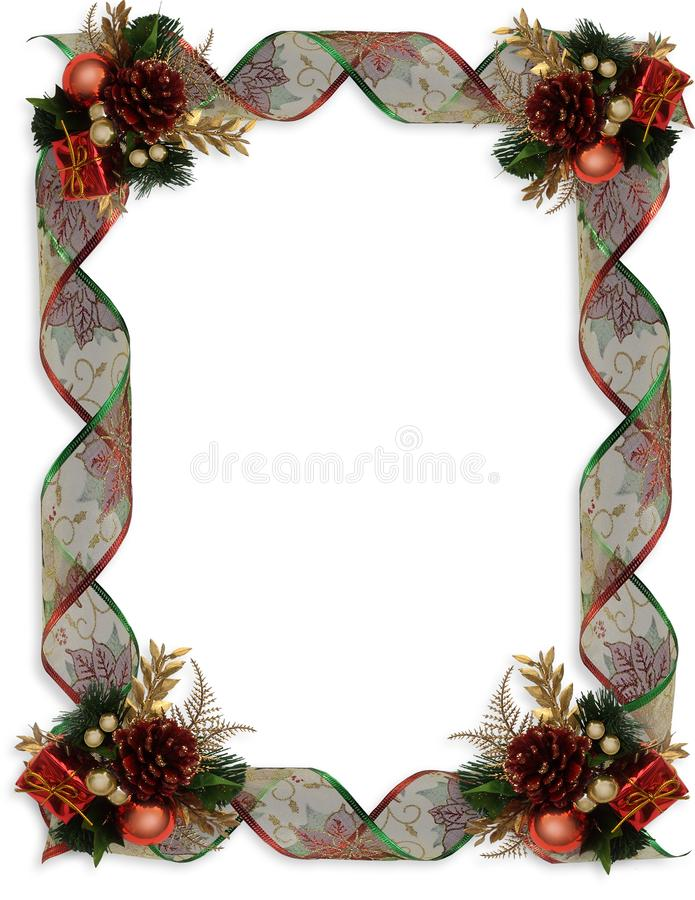 圣诞节边界花梢丝带和装饰品 免版税库存图片