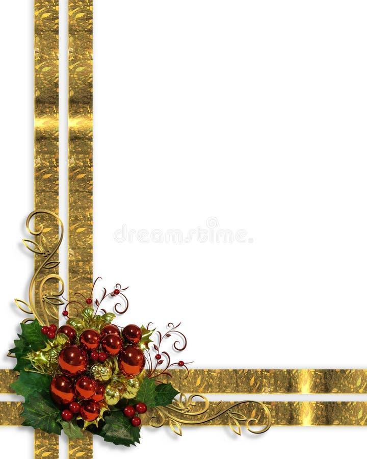 圣诞节边界花梢丝带和装饰品 向量例证