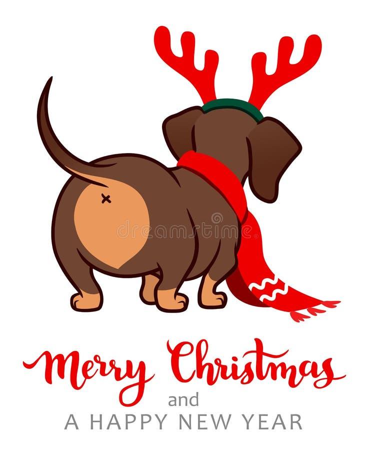圣诞节达克斯猎犬小狗动画片例证 佩带红色围巾和鹿角的逗人喜爱的熏肉香肠香肠狗 滑稽的doxie 库存例证