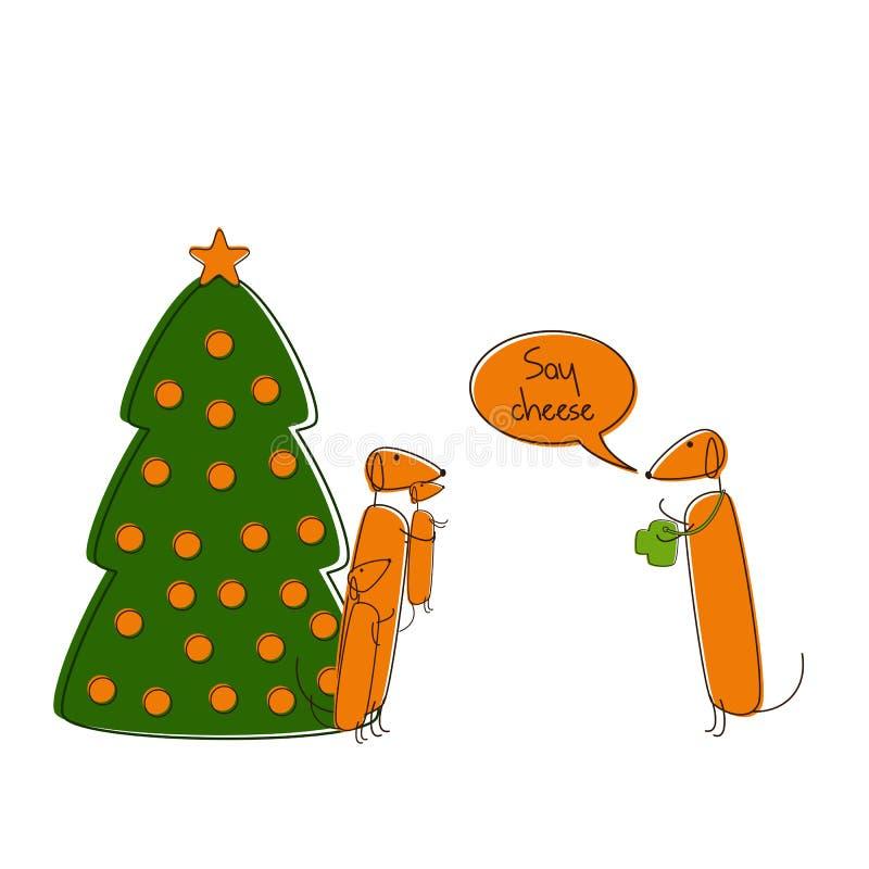圣诞节达克斯猎犬 向量例证