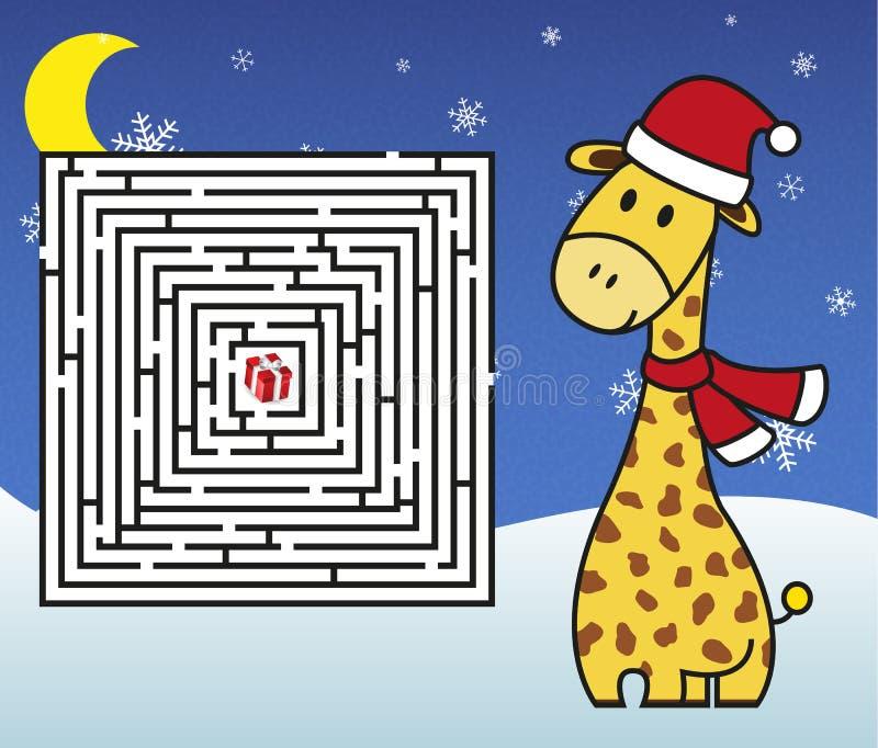 圣诞节迷宫-帮助长颈鹿有礼物! 向量例证
