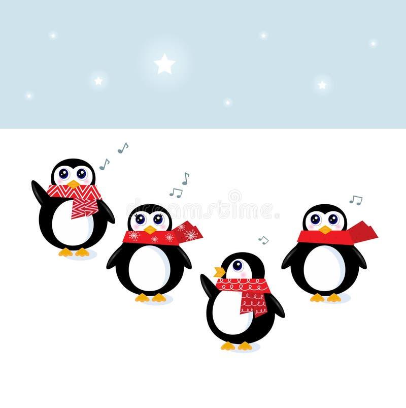 圣诞节逗人喜爱企鹅唱歌 向量例证