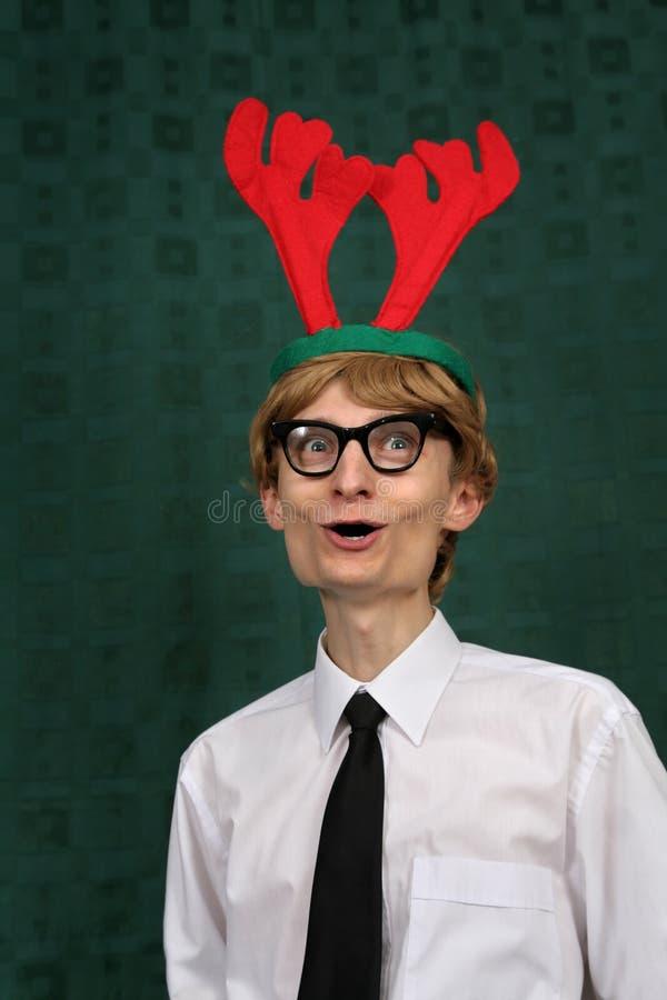 圣诞节逗人喜爱的书呆子 免版税库存照片