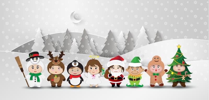 圣诞节逗人喜爱的孩子 皇族释放例证