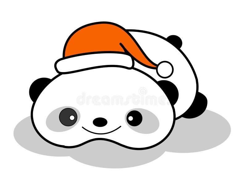 圣诞节逗人喜爱的帽子熊猫 库存例证