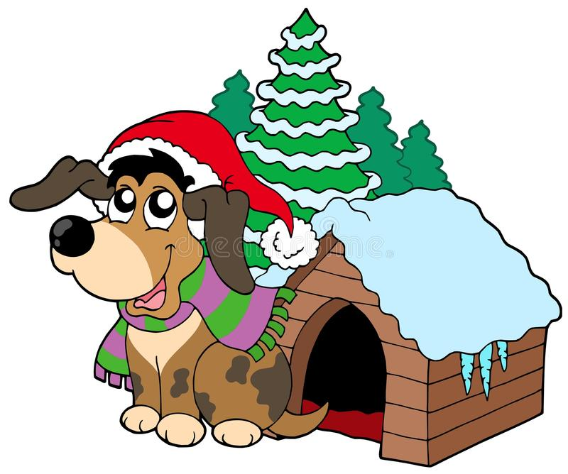 圣诞节逗人喜爱的狗 皇族释放例证