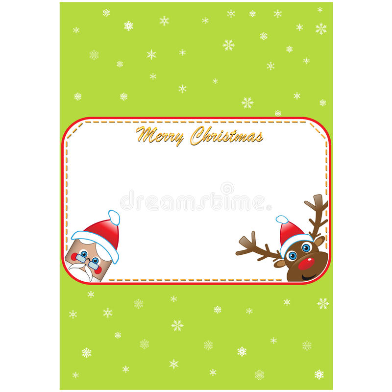 圣诞节邀请与圣诞老人和吕多尔夫 库存例证