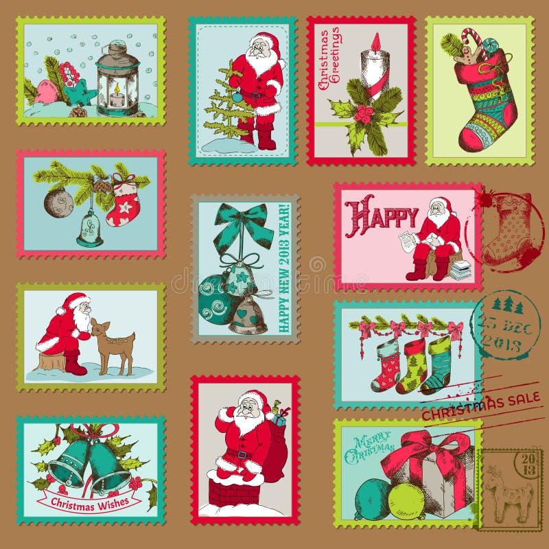 圣诞节邮票 库存例证