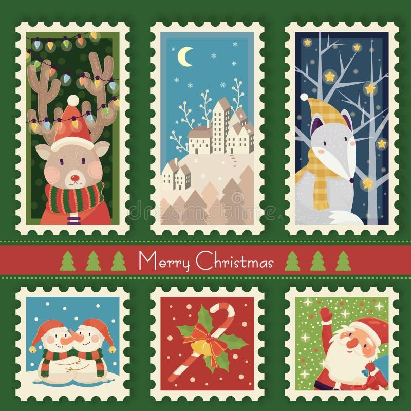 圣诞节邮票 向量例证