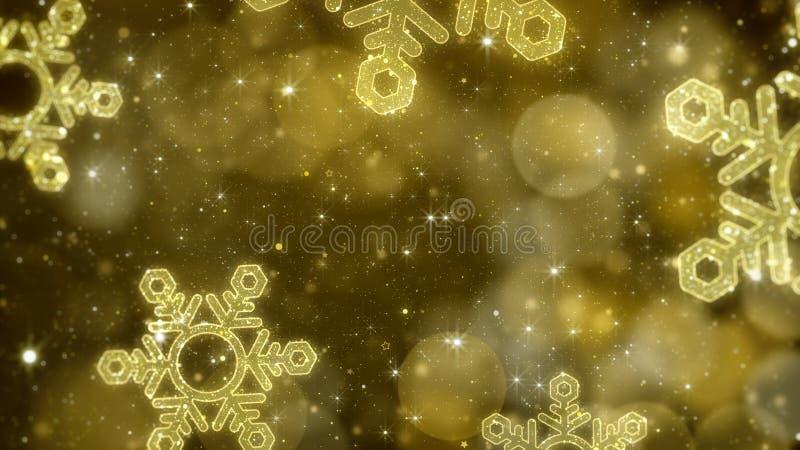 圣诞节金与闪烁的bokeh,金子题材的雪花背景 库存例证