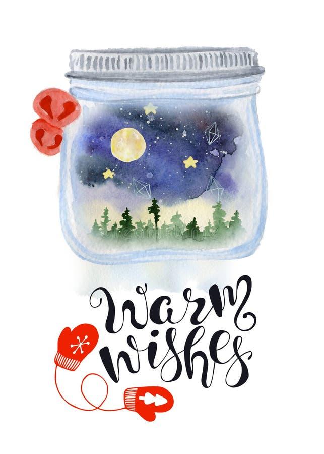 圣诞节金属螺盖玻璃瓶与nigt天空的雪在水彩手拉的例证里面的地球和森林地 库存例证