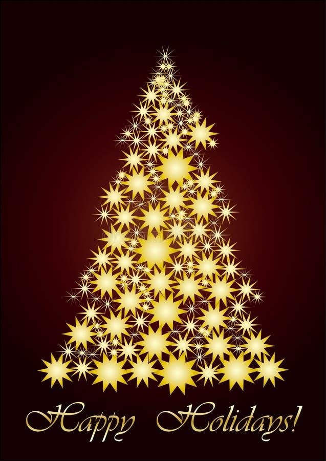 圣诞节金满天星斗的结构树 库存例证