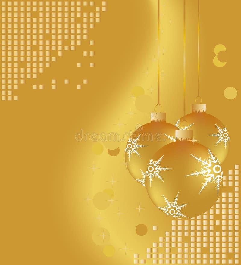 圣诞节金装饰品 向量例证