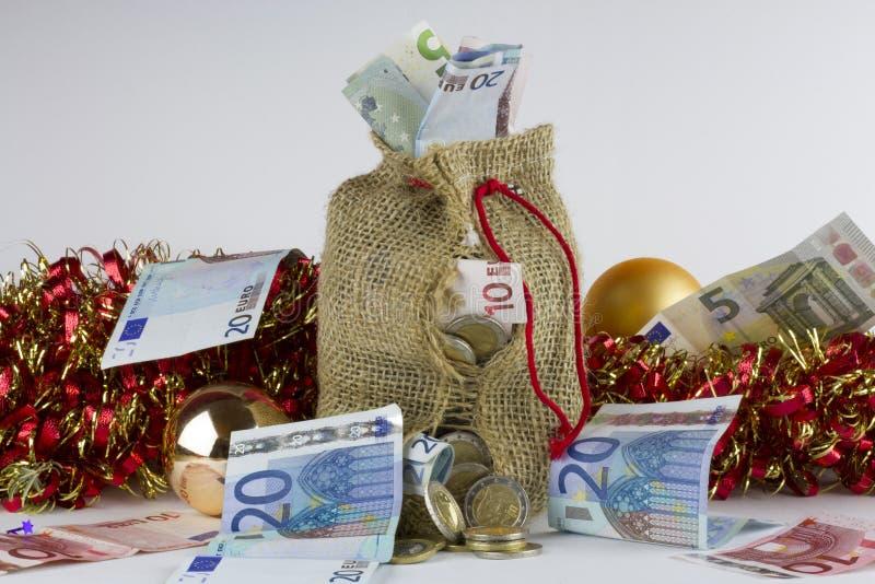 圣诞节金钱袋子 库存照片