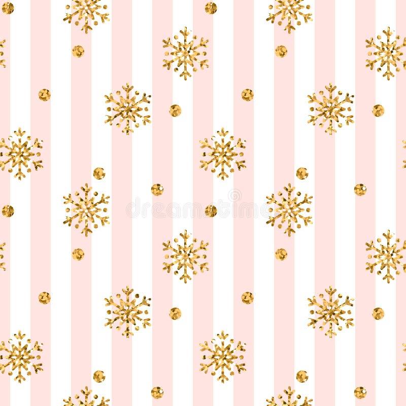 圣诞节金雪花无缝的样式 在桃红色空白线路背景的金黄闪烁雪花 冬天雪纹理 向量例证