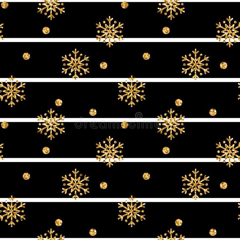 圣诞节金雪花无缝的样式 在黑空白线路背景的金黄闪烁雪花 冬天雪 皇族释放例证