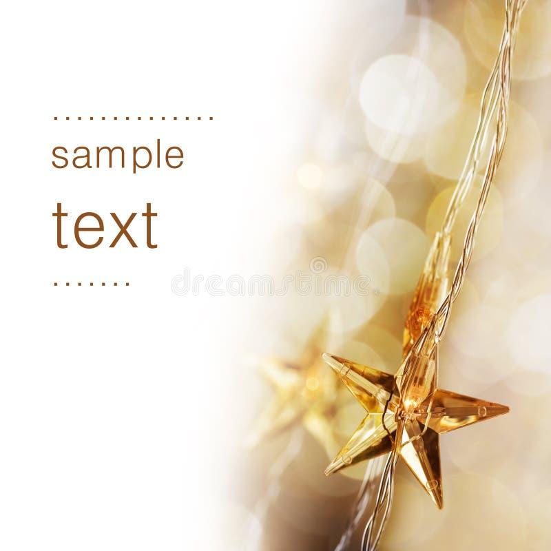 圣诞节金黄星形 免版税库存照片