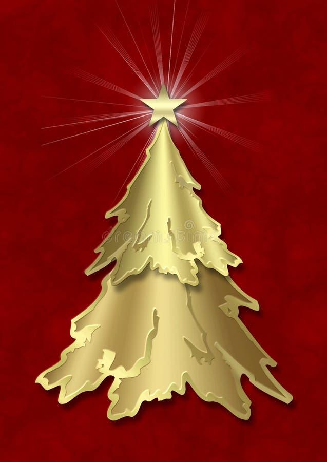 圣诞节金黄结构树 库存例证