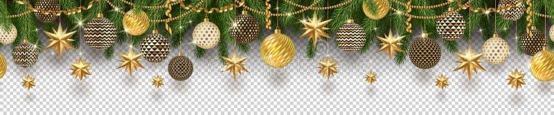 圣诞节金黄装饰和圣诞树在方格的背景分支 在所有背景能使用 无缝的带状装饰 皇族释放例证