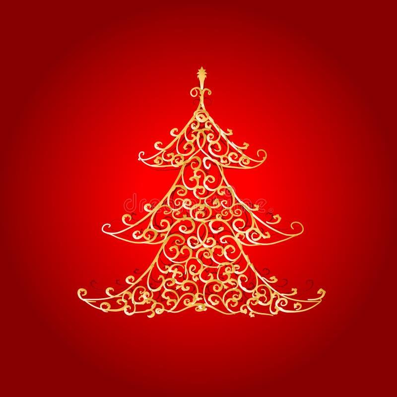 圣诞节金黄装饰品结构树 库存例证