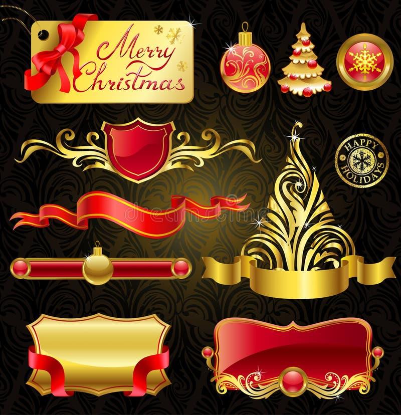 圣诞节金黄设计的要素 库存例证