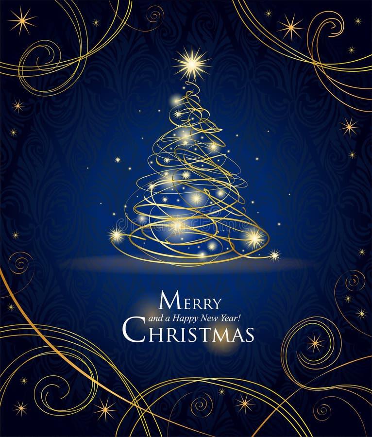 圣诞节金黄现代结构树 向量例证