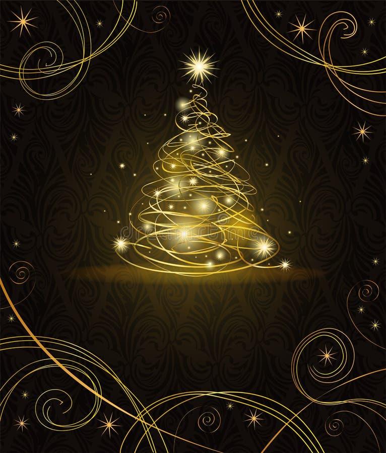 圣诞节金黄现代结构树 皇族释放例证