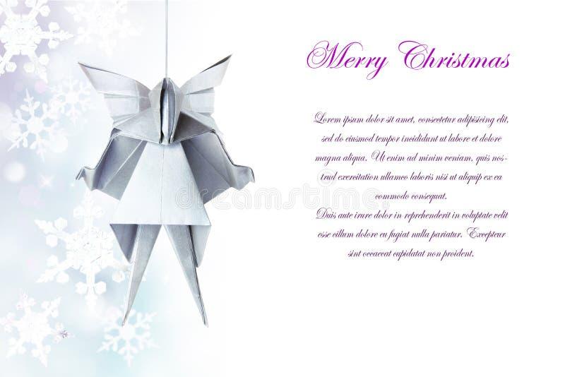 圣诞节银色origami天使 库存图片