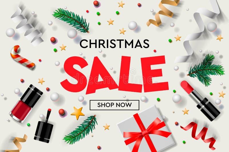圣诞节销售与圣诞节装饰品、礼物、化妆用品、星、五彩纸屑和冷杉分支的海报模板 在网上 向量例证