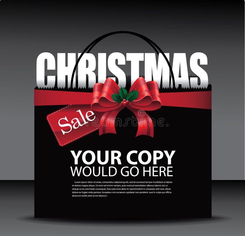 圣诞节销售大红色弓购物袋背景 皇族释放例证