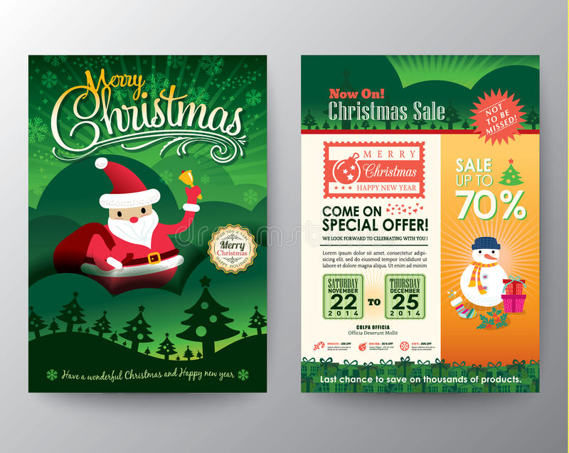 圣诞节销售小册子飞行物设计版面传染媒介模板 库存例证