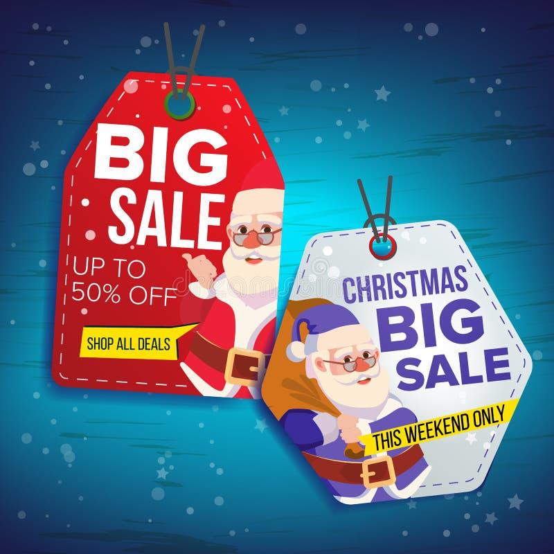 圣诞节销售标记传染媒介 平的圣诞节特价优待贴纸 克劳斯・圣诞老人 50文本 垂悬的销售横幅与 皇族释放例证