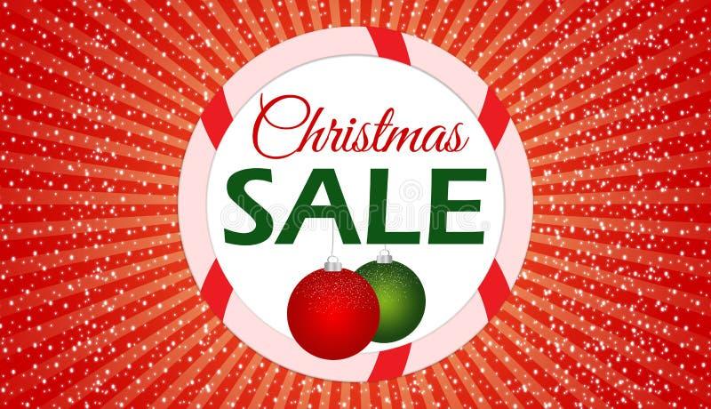 圣诞节销售横幅有红色背景 免版税库存照片
