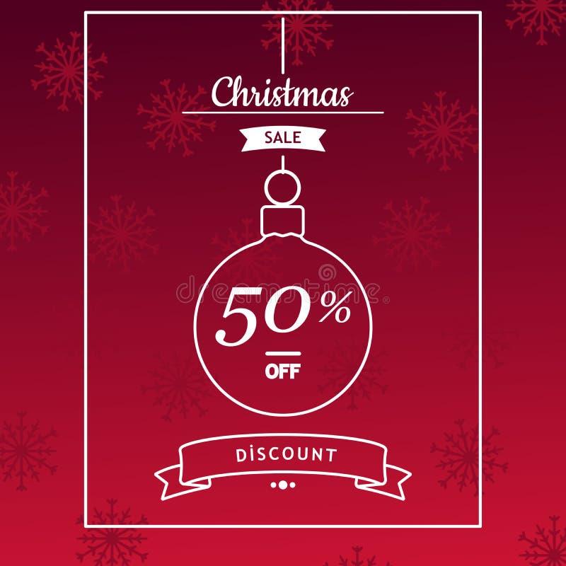 圣诞节销售横幅,飞行物,卡片模板设计 免版税库存图片
