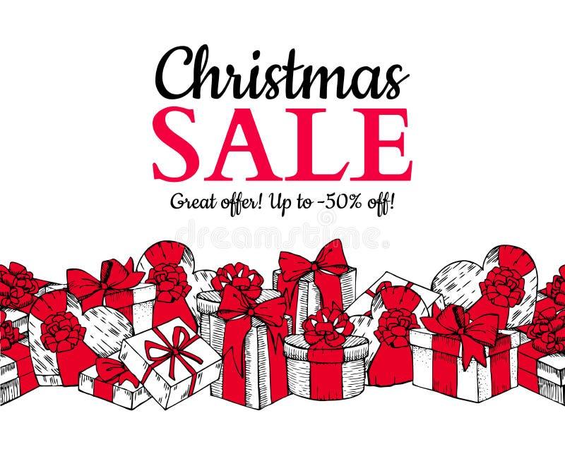 圣诞节销售横幅 与礼物盒的手拉的假日例证 库存例证