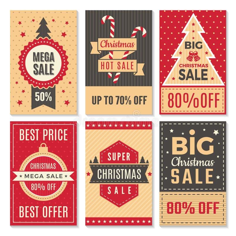 圣诞节销售横幅 新年特价和折扣成交标签优惠券传染媒介模板 皇族释放例证