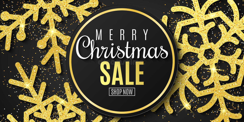 圣诞节销售横幅 金子闪烁雪花在黑背景的 圣诞节愉快的快活的新年度 向量 向量例证