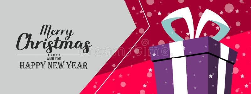 圣诞节销售,折扣 一个欢乐新年横幅和礼物盒在雪撬, 库存例证
